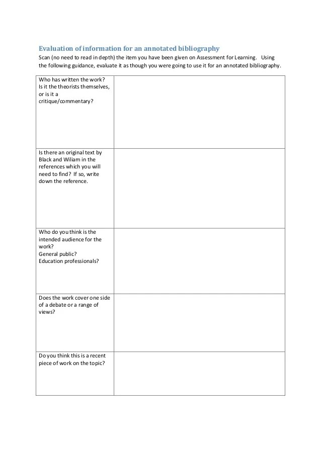 Annotated bibliography worksheet, Annotated Bibliographies