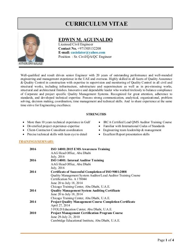 Edwin Cv For QA QC Engineer