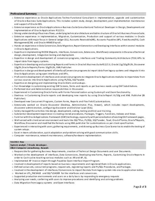 CV  Senior Oracle Financial HRMS TechnoFunctional Consultant