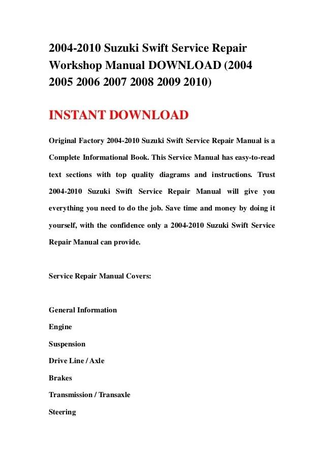 20042010 Suzuki Swift Service Repair Workshop Manual