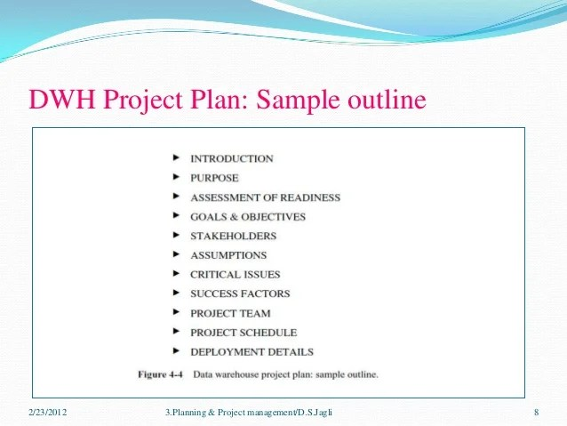 planning  project management for DWH