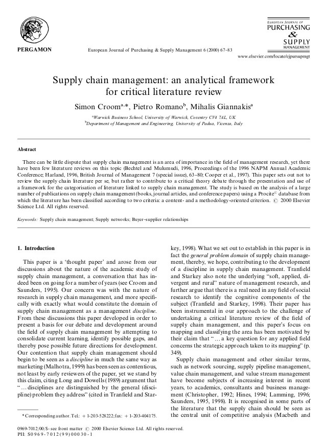3 Supply Chain Management A Analytical Framework For Critical Literat