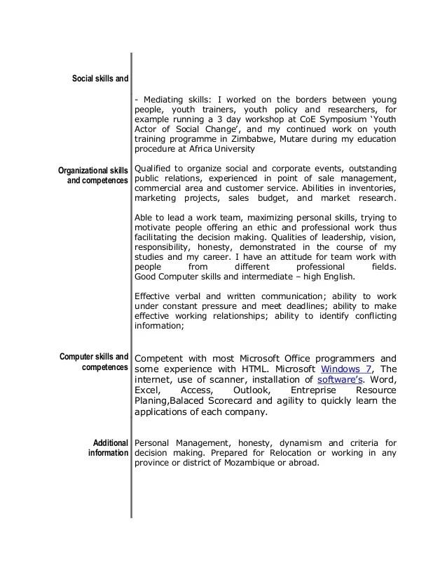 Graduate: Sample CV template and guide