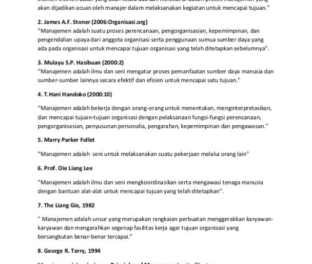 Definisi Manajemen Menurut Para Ahli  Henry Fayol Manajemen Mengandungasan Lima