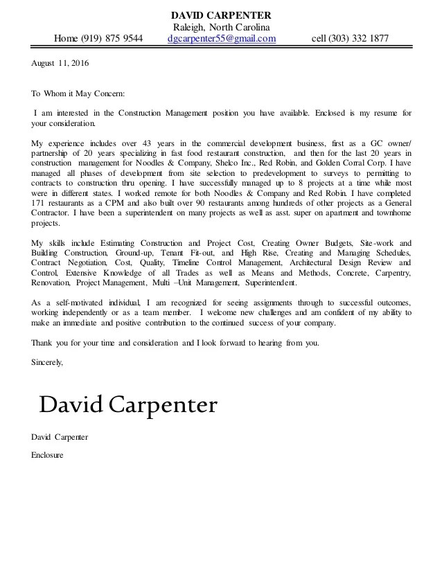 David Carpenter Resume and Cover Letter 081116