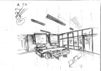 Random interior sketch + isometric restaurant view