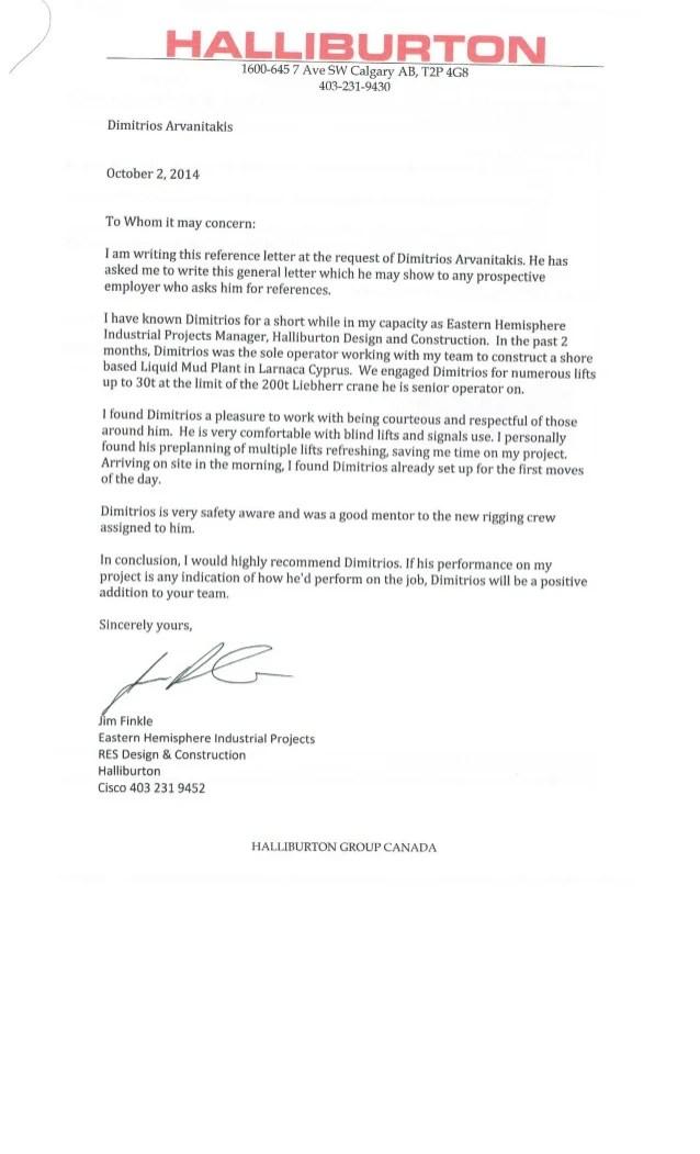 HALLIBURTON Reference Letter