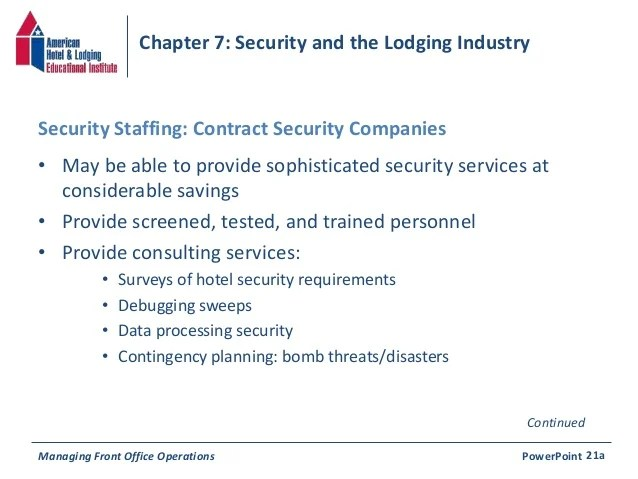 Chapter 7 Security  the Lodging Industry