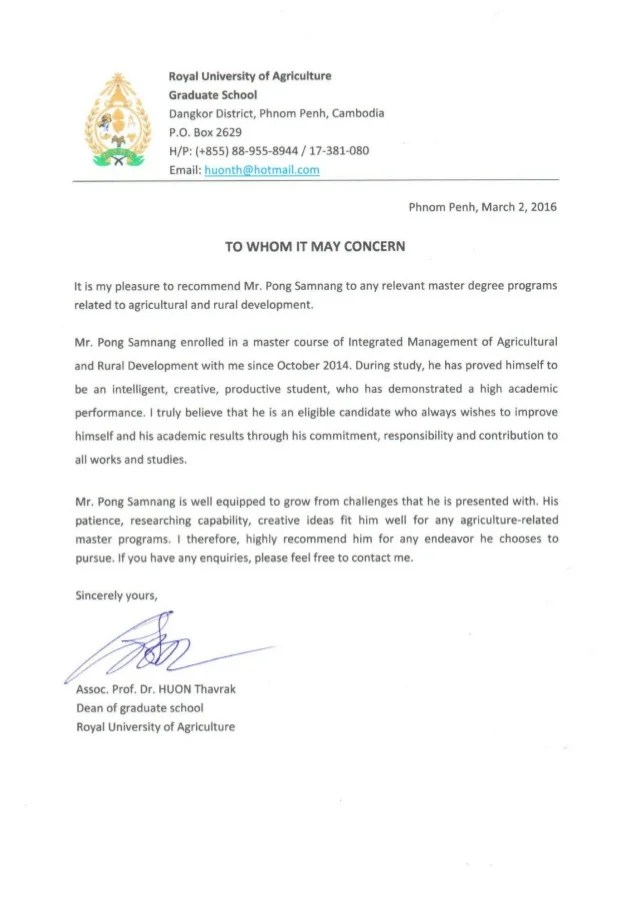 Recommendation Letter from Royal University of Agriculture