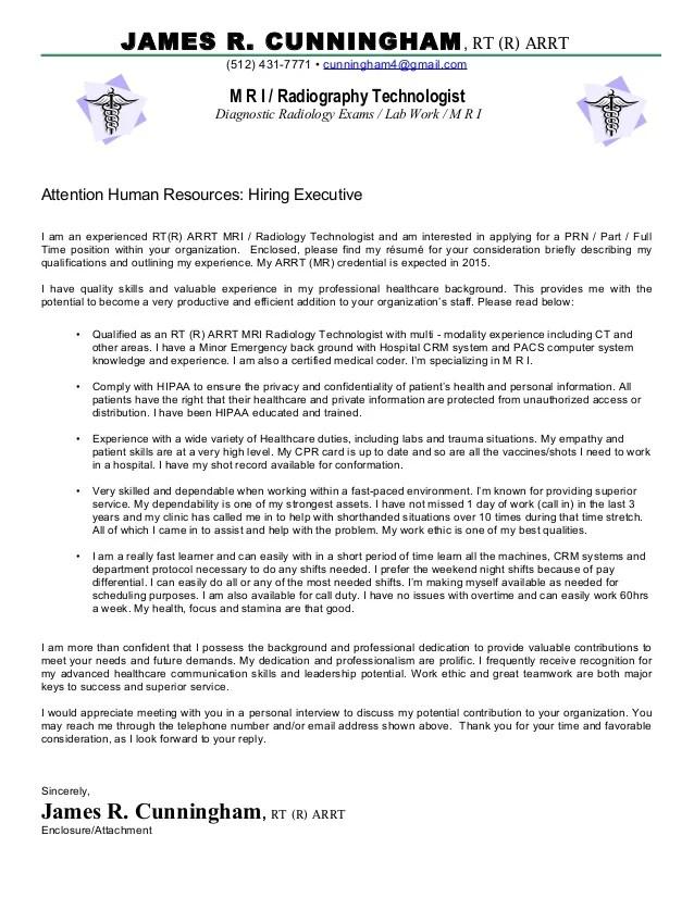 radiology cover letter