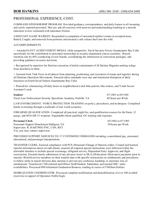 Game Warden Resume Examples - Examples of Resumes