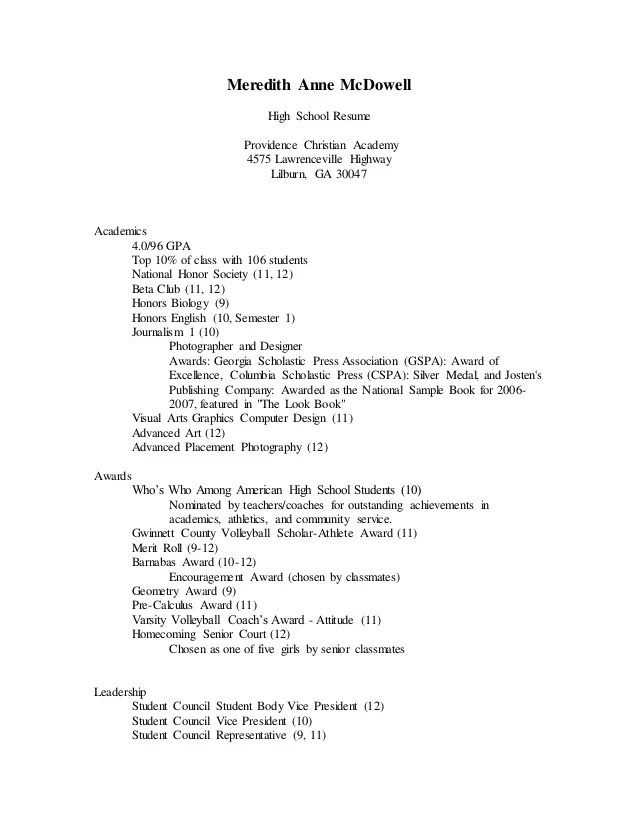 Linkd In High School Resume