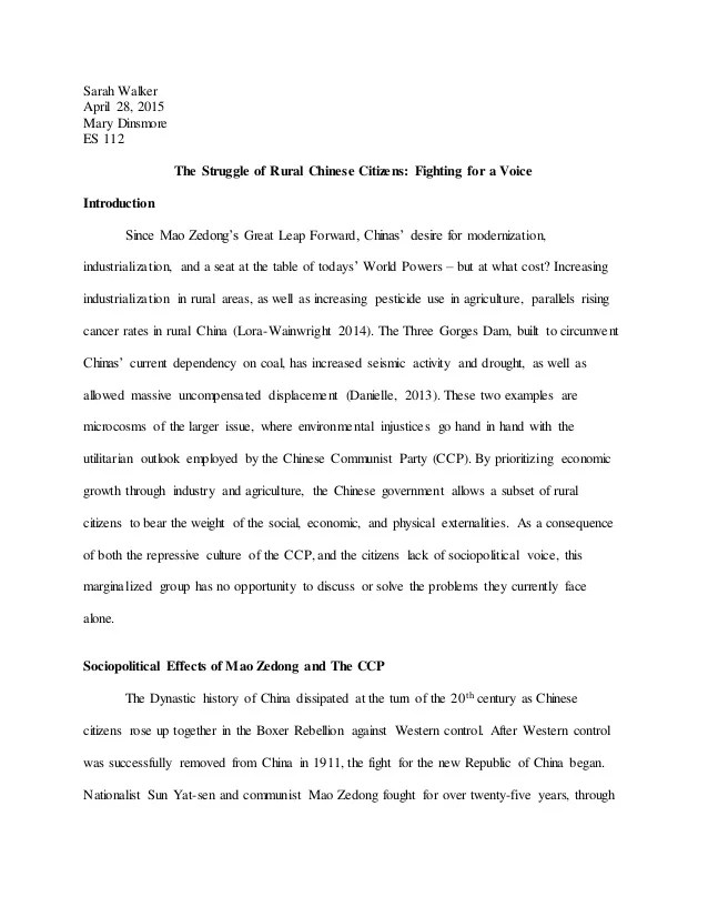 Human Rights Research Paper China And The Three Gorges Dam