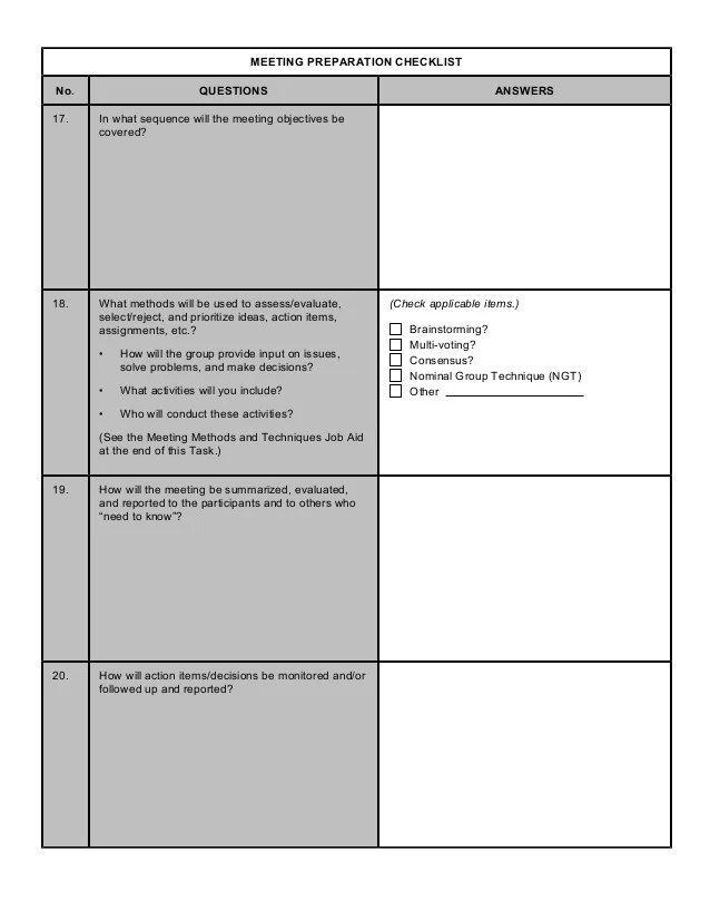 Share this meeting checklist so everyone knows what the rules are and what is expected. 36337960 Form Meeting Preparation Checklist
