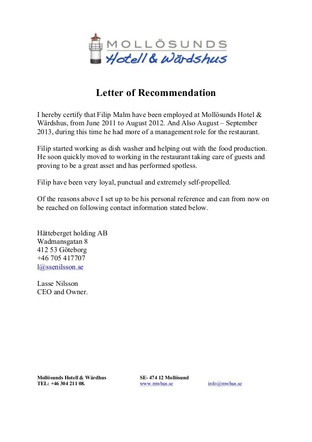 recommendation letter for employment sample