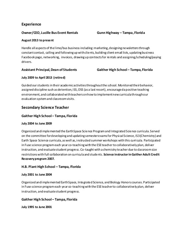 sample resumes dean of students