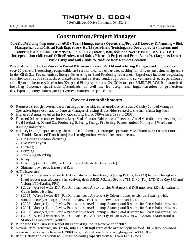TCO Construction Project Manager Resume REV 01 24 16