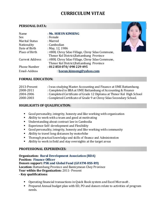 Khmer Curriculum Vitae Sample Cover Letter And Resume Samples