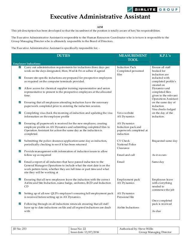Job Description  Executive Administrative Assistant