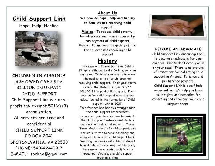 3 fold brochure for child support link