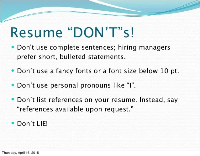 resume tips references available upon request