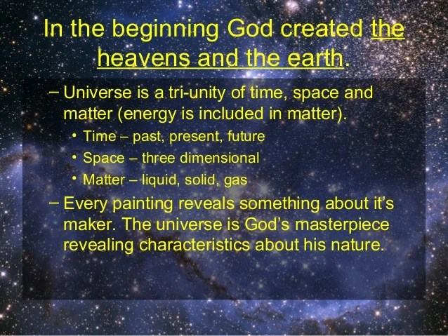 Image result for in the beginning god created the heavens and the earth