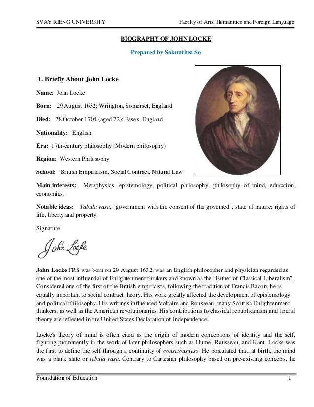 Biography Of John Locke
