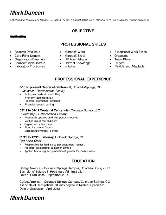 Medical Records Clerk Resume Medical Records Clerk Resume Samples