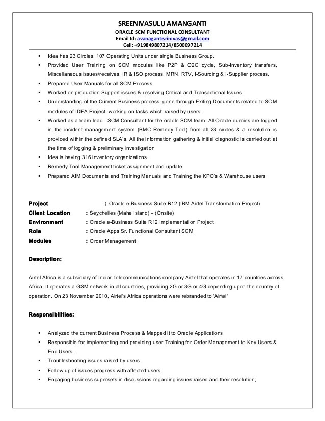oracle scm functional consultant resume sample