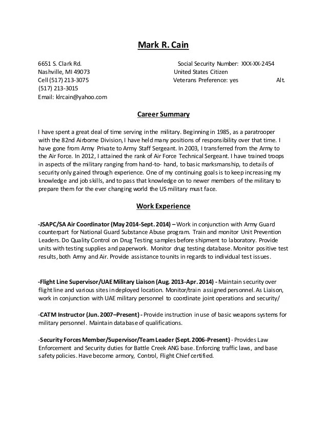 Cain Federal Resume 201504