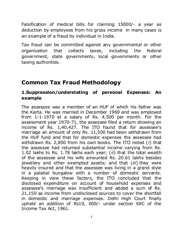 Tax Fraud Research Paper