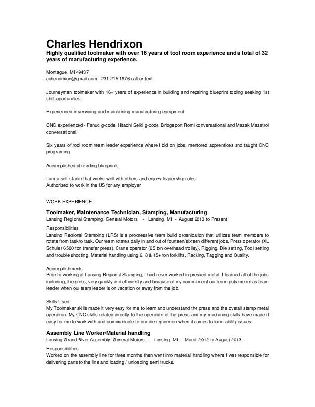 toolmaker resume sample