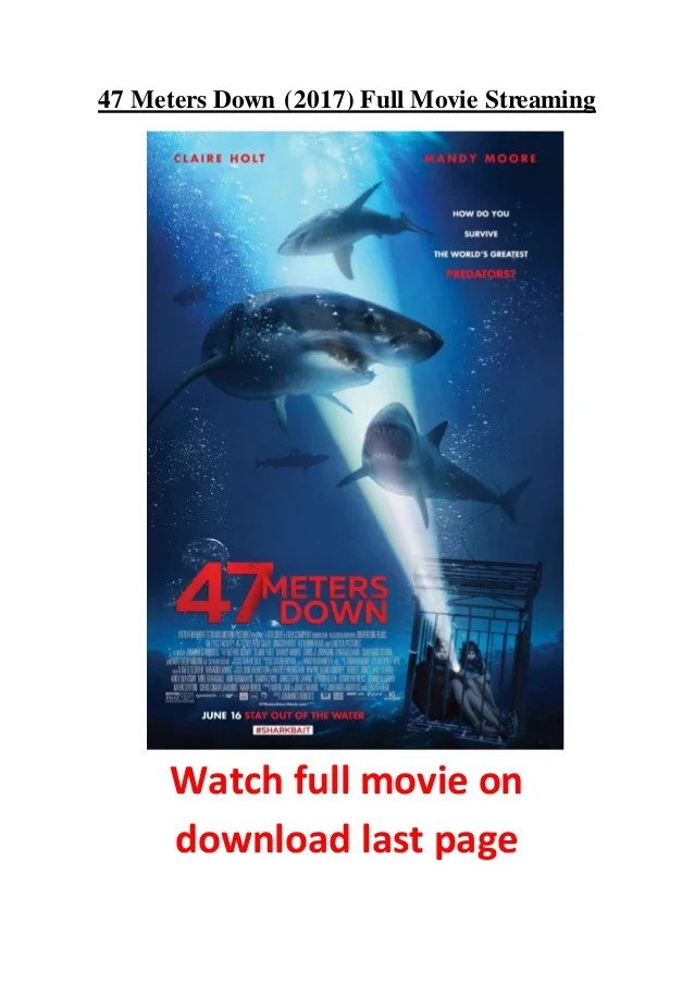 47 Meters Down Streaming : meters, streaming, Meters, (2017), Movie, Streaming