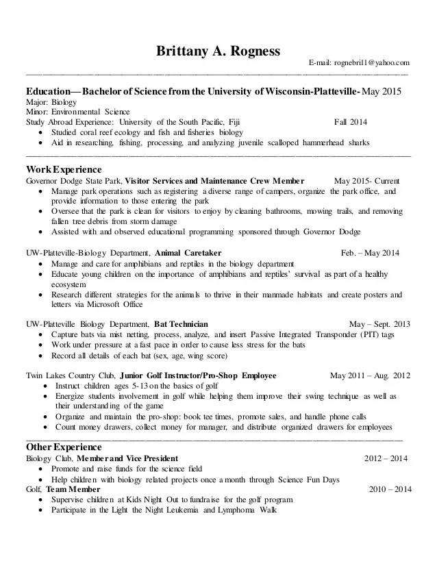 resume related coursework