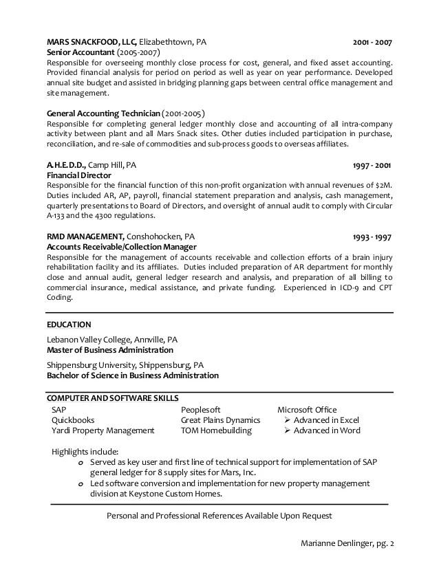accountant resume sample close process