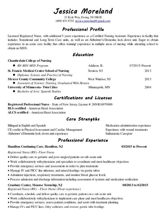 sample resume registered nurse long term care