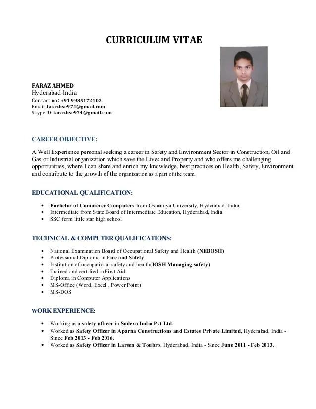 model resume safety officer
