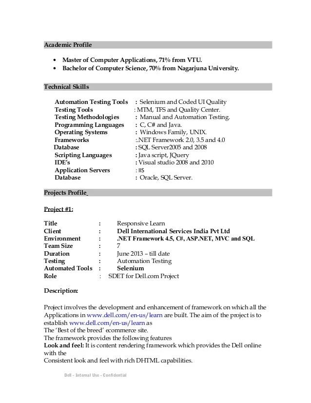 Sdet Resume Resume Ideas