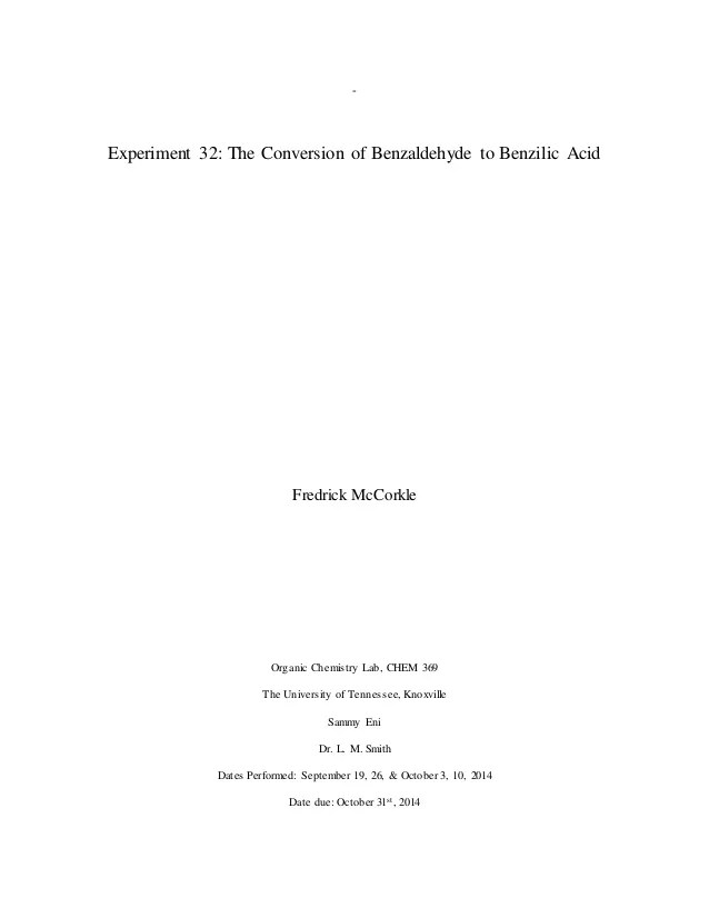 organic chemistry formal lab report - Rio.ferdinands.co