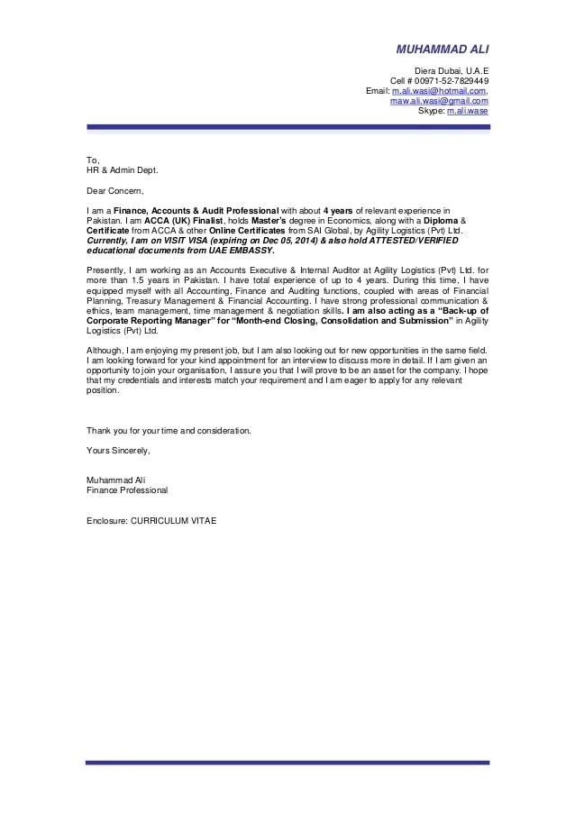 MUHAMMAD ALI Covering Letter Gulf