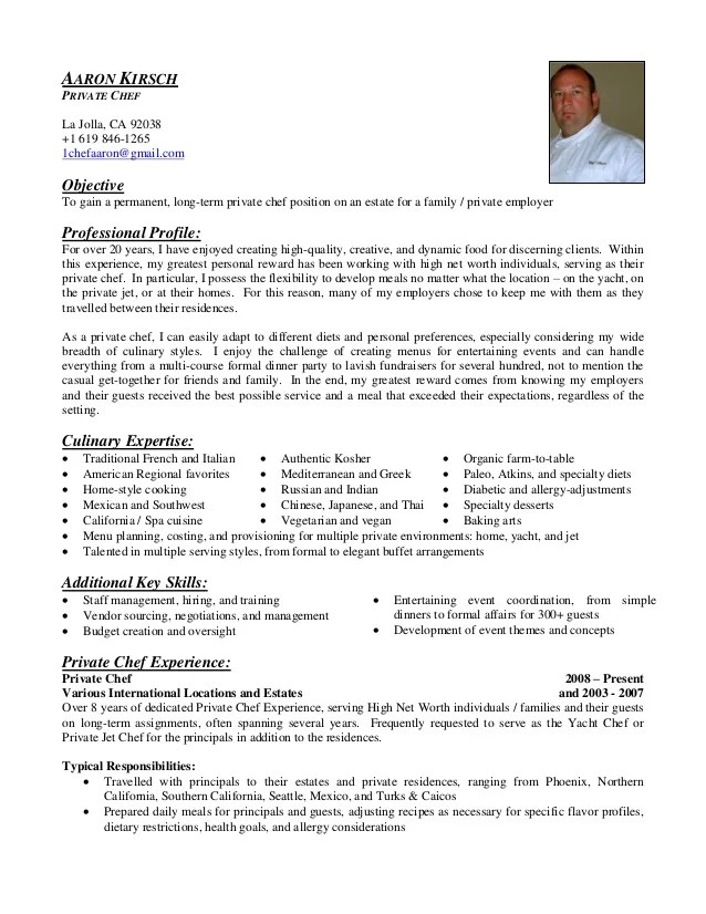 private cook sample resume