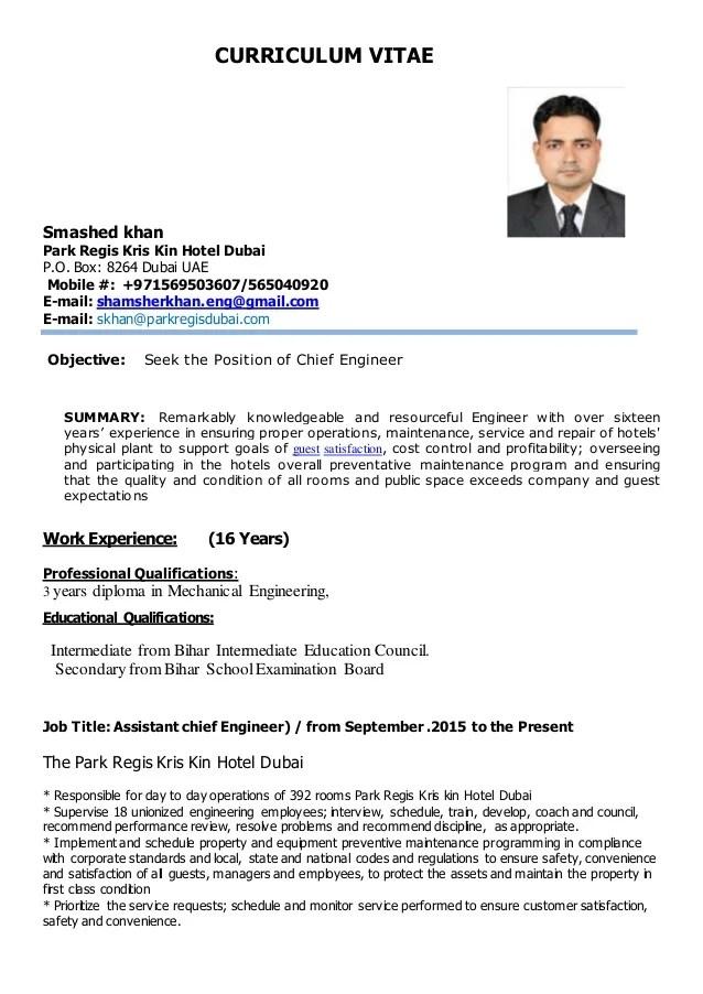 chief engineer cv