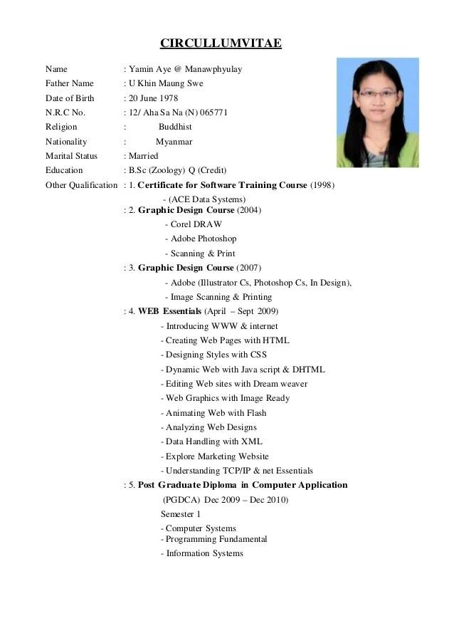 CV Form Yamin Aye