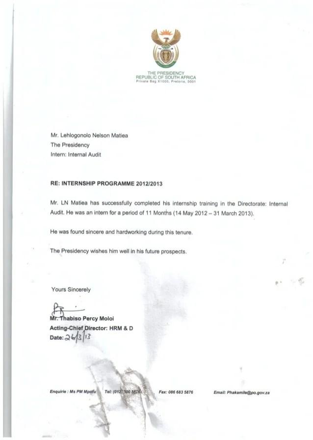 end of internship letter sample