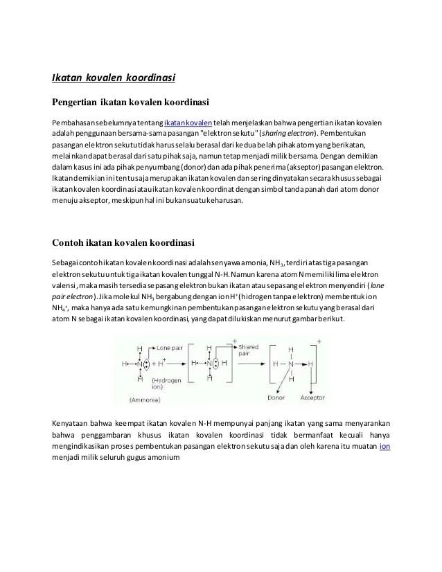 Pengertian Ikatan Kovalen : pengertian, ikatan, kovalen, Ikatan, Kovalen, Koordinasi