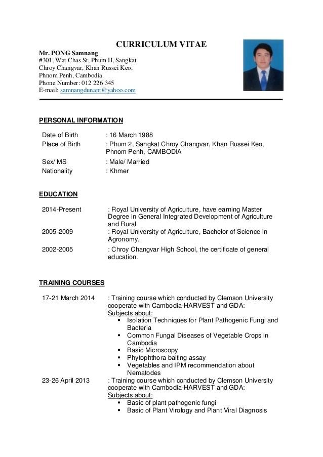 Curriculum VitaeSamnang PONG