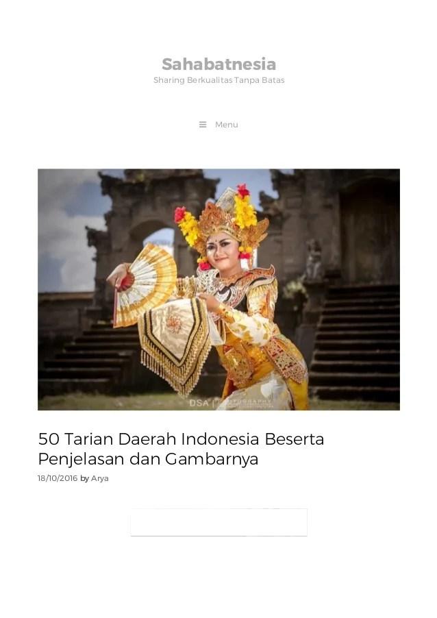 Macam Macam Tari Tunggal Nusantara : macam, tunggal, nusantara, Macam, Tarian, Daerah, Beserta, Asalnya, Cute766