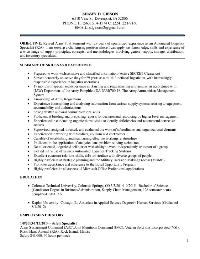 Logistics Management Resume For Shawn Gibson 5 December