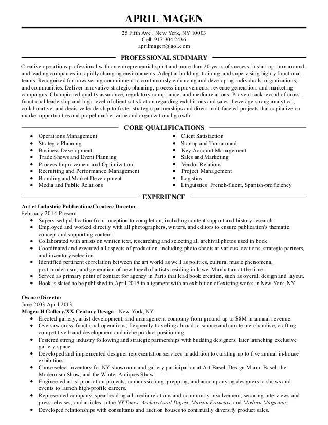 Copy of Professional Resume for April Magen3