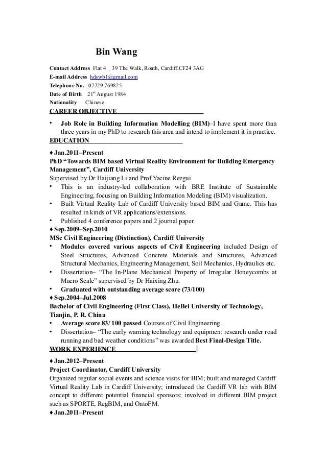 CV for BIM